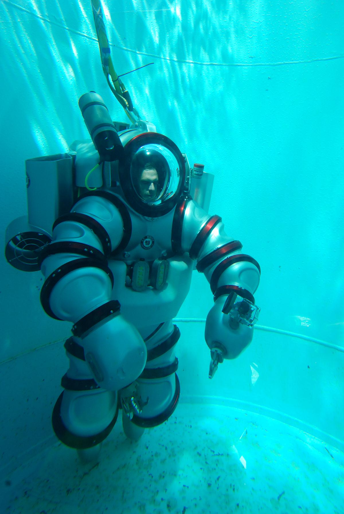 Michael Lombardi, the dive safety officer for the American Museum of Natural History and the project coordinator of the upcoming Stephen J. Barlow Bluewater Expedition, trains in the Exosuit.