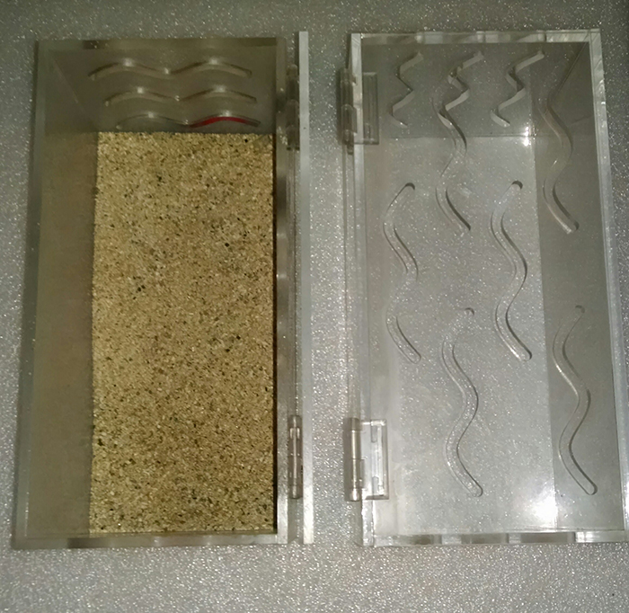 "Two of our social acclimation boxes. These are made from ¼"" acrylic and sit on the bottom of quarantine or display tanks without any additional weight. There's a hinged top for feeding and fish access, or you can use a turkey baster to feed through the slots. In some situations we use large submersible magnets to hold them on the pane of a display aquarium. These can be used to house sand for certain species as well."