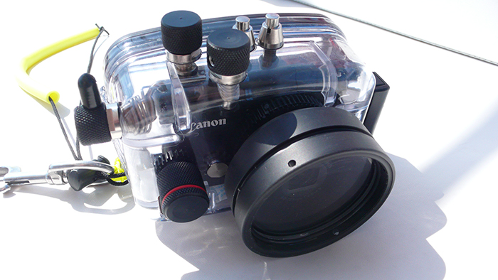A Canon compact in a US made Ikelite housing. These housings are tough and durable and the chunky controls are easy to use whilst wearing gloves.