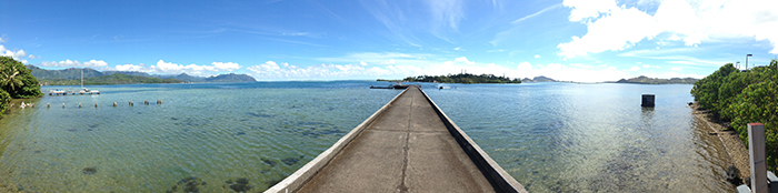 Water's edge/pier overlooking the Hawaii institute of marine biology on Coconut Island, in Kaneohe Bay.