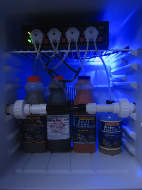 Automated refrigerated feeding system controlled by GHL Profilux 3 on author's aquarium.