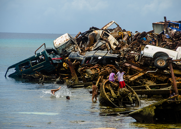 Children playing in the junkyard just off the island of Ebeye.