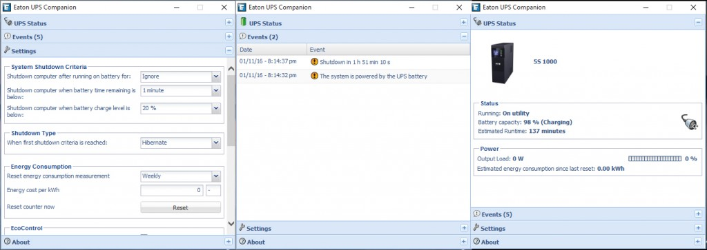 The different menus of EatON Companion software