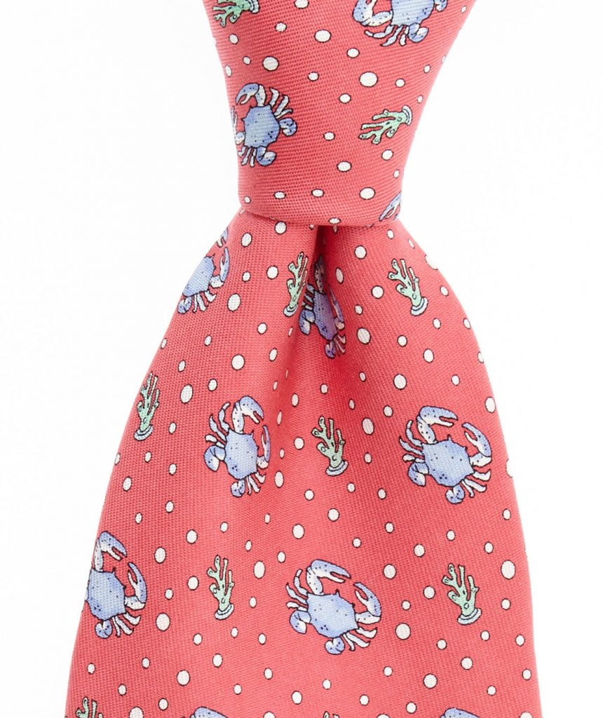 Corals and crabs on a coral tie. Available at vineyard vines for $85.00