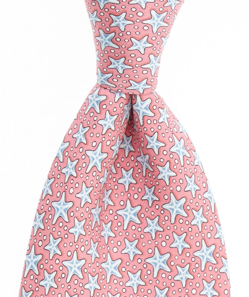 This pink sea star tie might be subtle eough to wear into the boardroom. Available at vineyard vines for $85.00.
