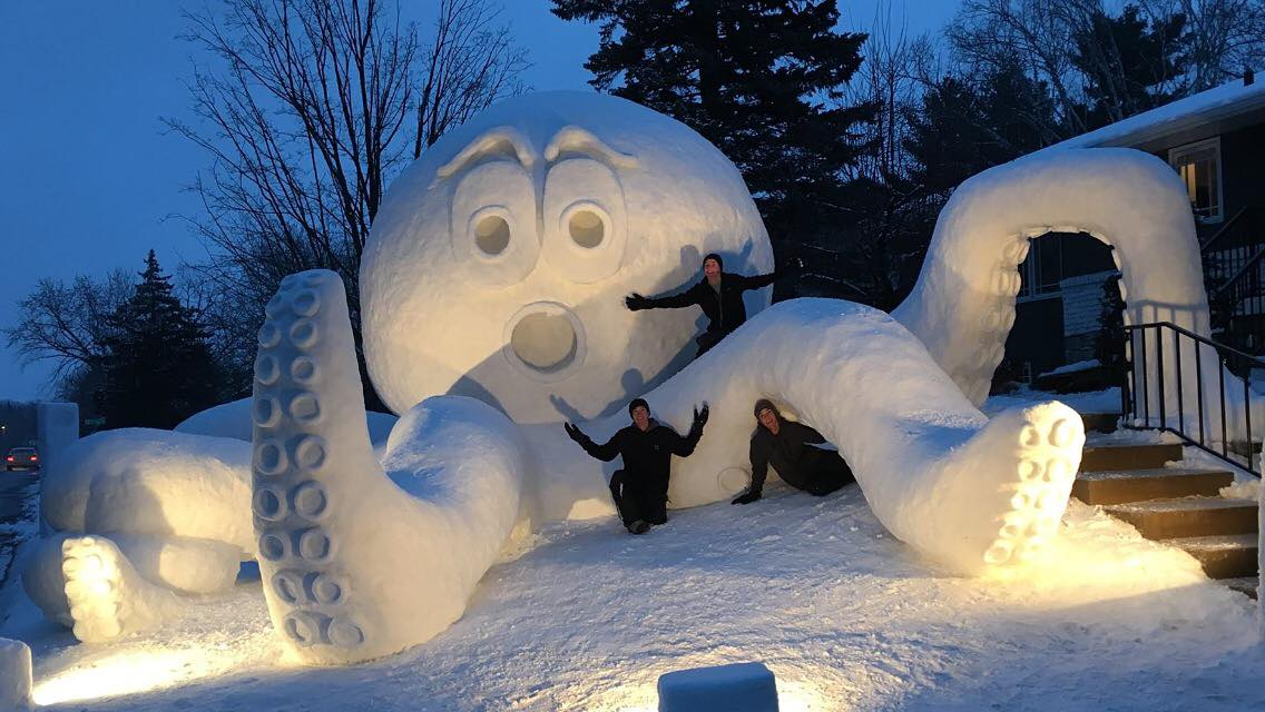 octopus snow sculpture