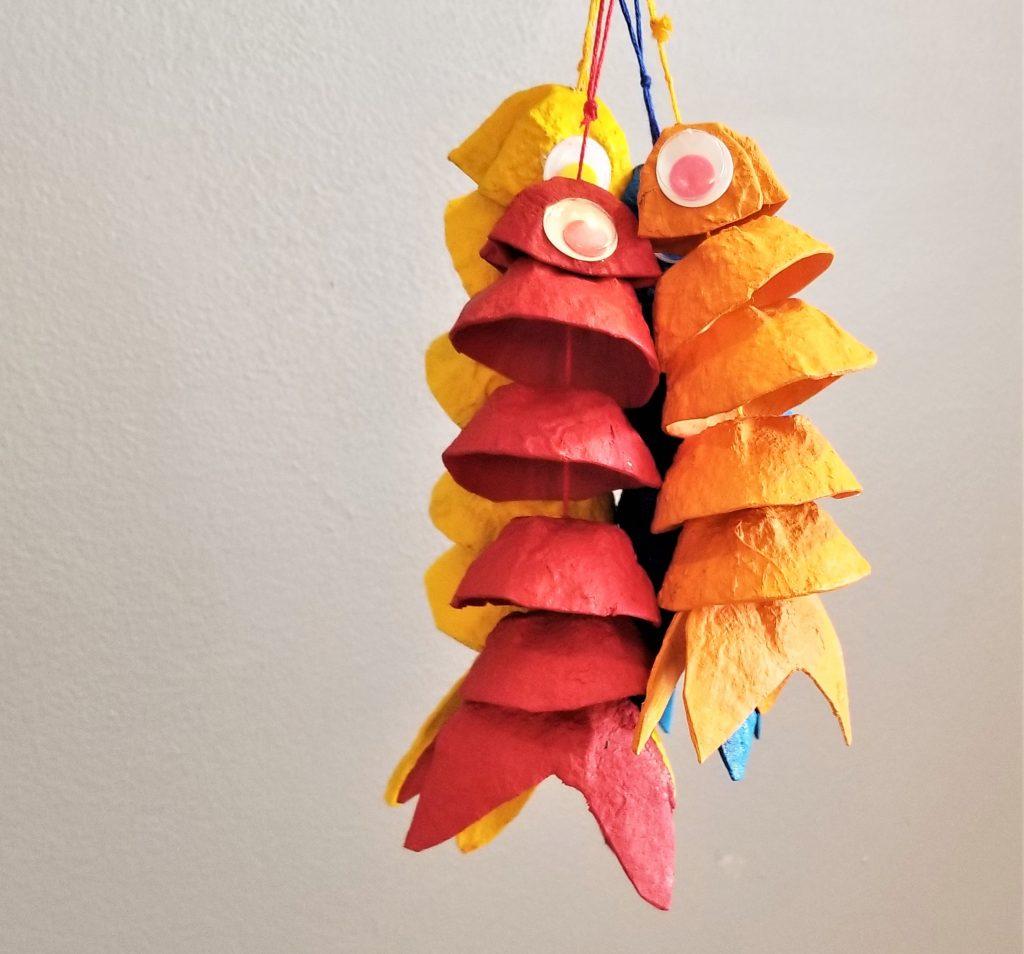 fish craft egg carton