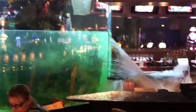 13,000 gallon aquarium ruptures, forces casinos shutdown