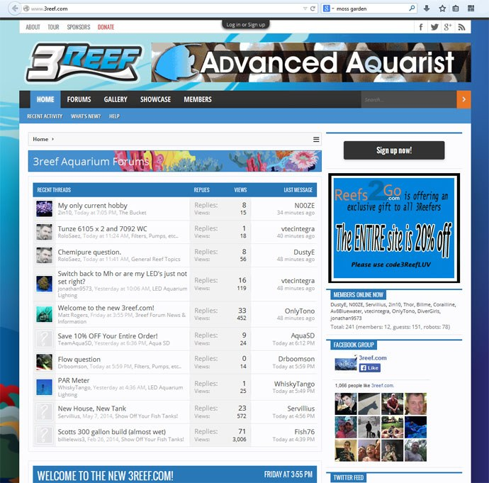 3reef.com is back online with a brand new website